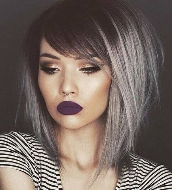 Long inverted bob with bangs